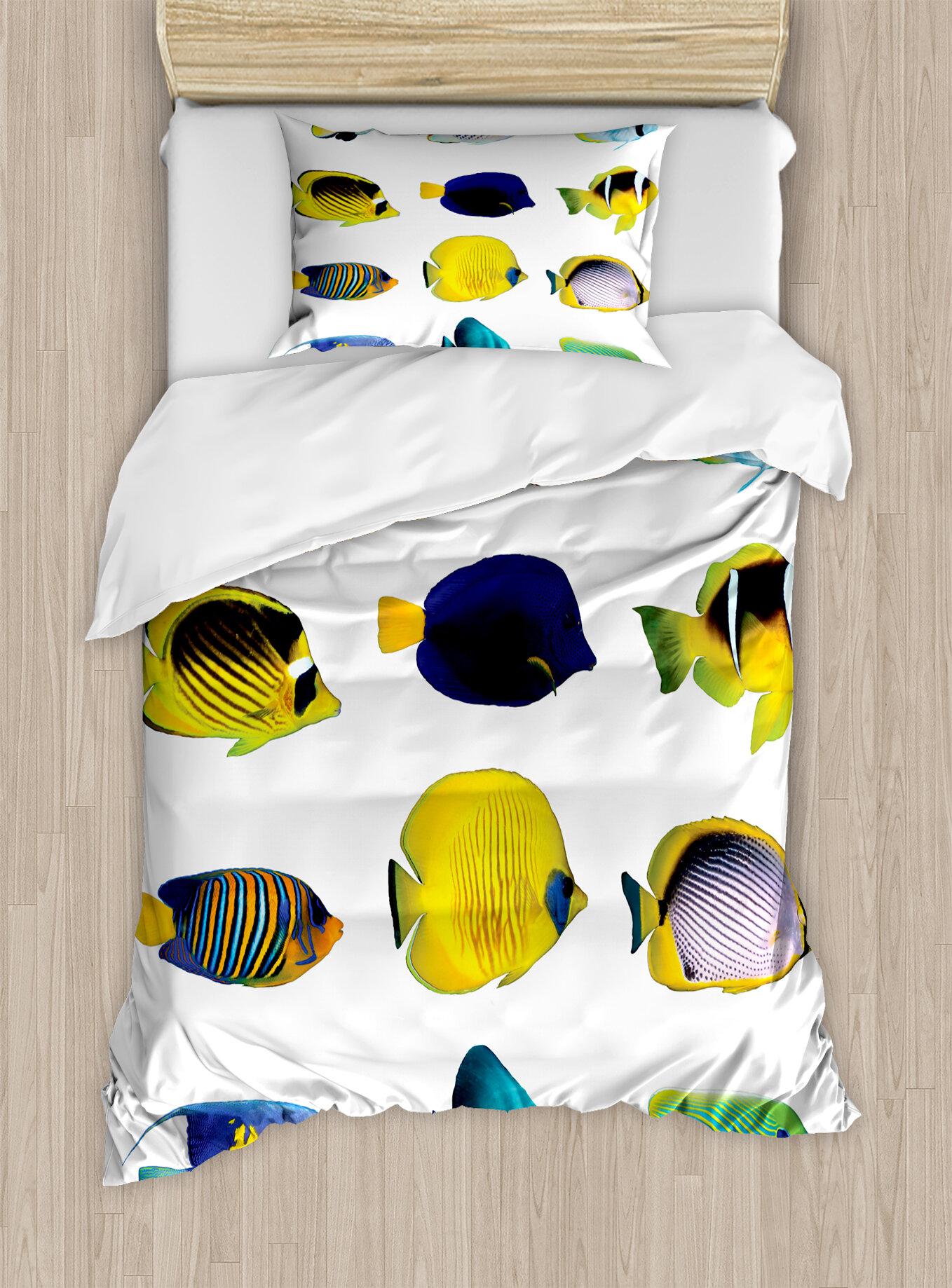 East Urban Home Ocean Animal Tropical Fish Figures With Zebrasoma Anemonefish Dive Nemo Aqua Home Decor Duvet Cover Set Wayfair