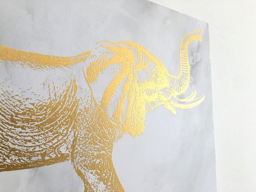 Elephant\' Gold Foil Graphic Art on Canvas & Reviews | AllModern