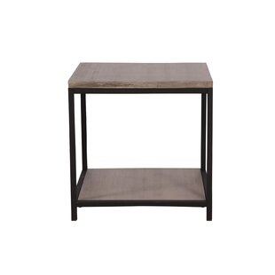 Brushed Gray Bamboo End Table by Ebern Designs