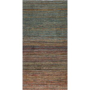 One-of-a-Kind Persian Gabbeh Handmade Blue / Green Area Rug