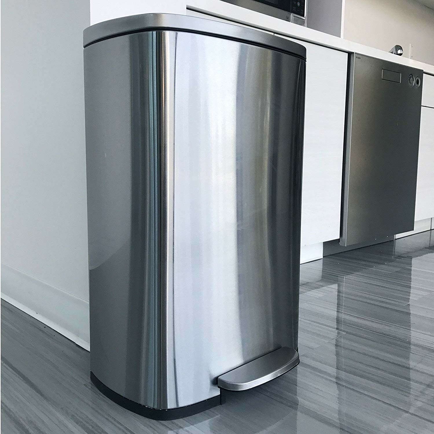 Itouchless Softstep Step Trash Can Rose Gold 50 Liter Foot Pedal Garbage Bin For Office And Kitchen 13 Gallon Stainless Steel With Deodorizer Filter System Inner Bucket Trash Recycling Compost