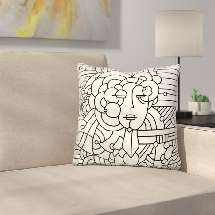 Art Deco Throw Pillows.Art Deco Face Throw Pillow