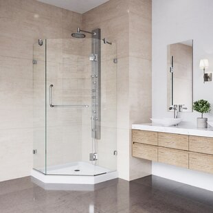 VIGO Piedmont 40 x 40-in. Frameless Neo-Angle Shower Enclosure with .375-in. Clear Glass and Chrome Hardware