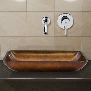 VIGO Russet Glass Rectangular Vessel Bathroom Sink with Faucet