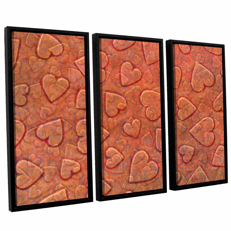 Isabelle Max Lenny Large Heart Mixed Pattern 3 Piece Rectangle Framed Art Wayfair