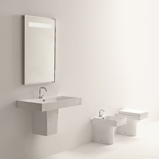 Cento Ceramic 28 Semi Pedestal Bathroom Sink with Faucet and Overflow ByWS Bath Collections
