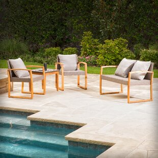 Greenport 4 Piece Teak Sofa Set with Cushions