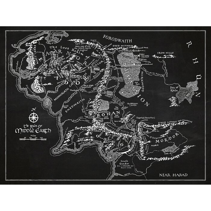 Inked and Screened Sci-Fi and Fantasy \'Middle Earth Map\' Silk Screen ...