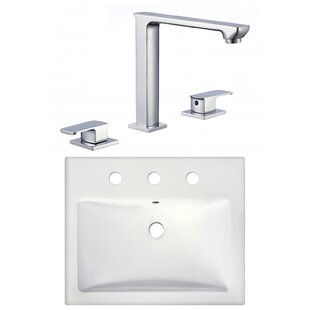 Bargain Ceramic Rectangular Vessel Bathroom Sink with Faucet By American Imaginations