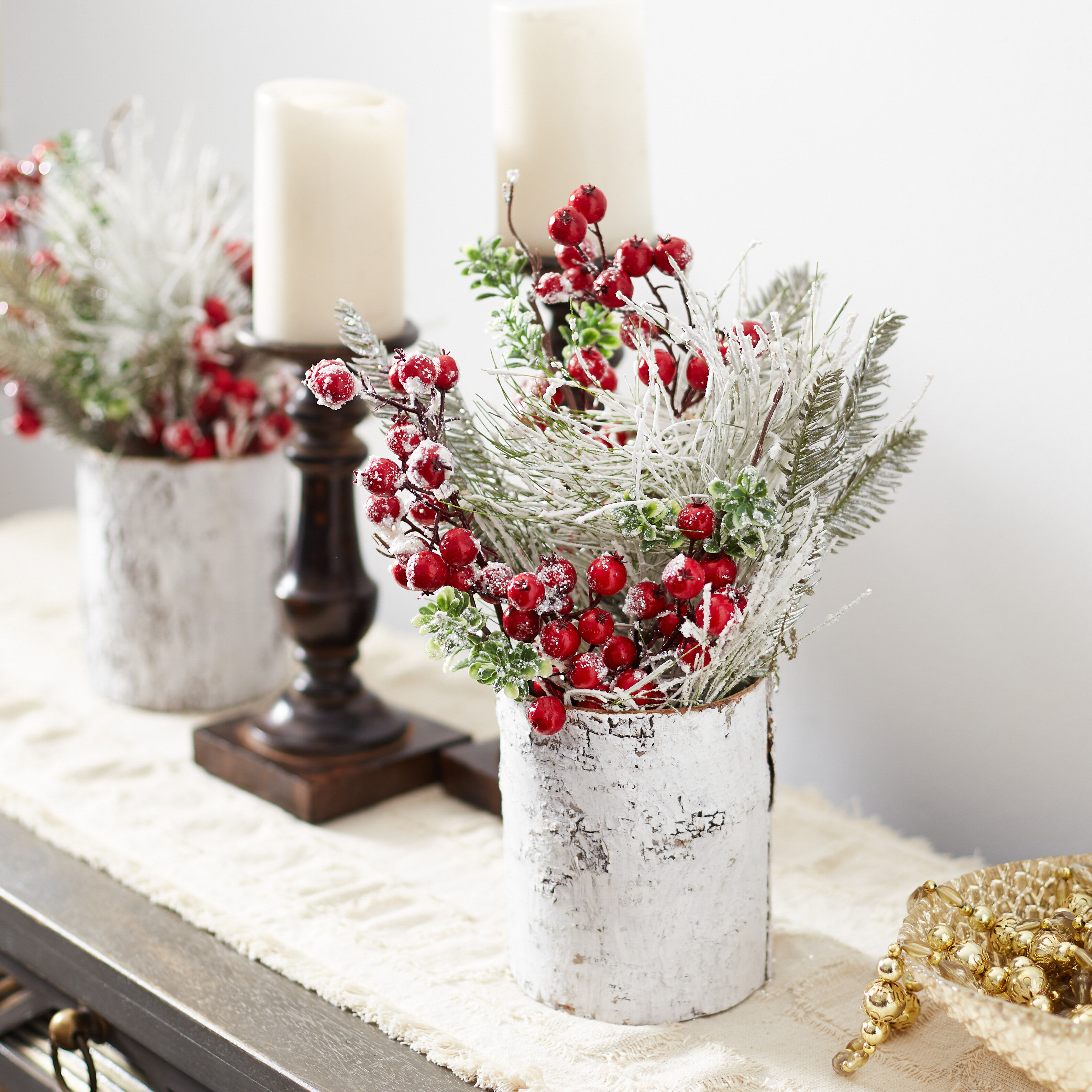 Pine And Boxwood Christmas Mixed Floral Arrangement In Vase Birch Lane