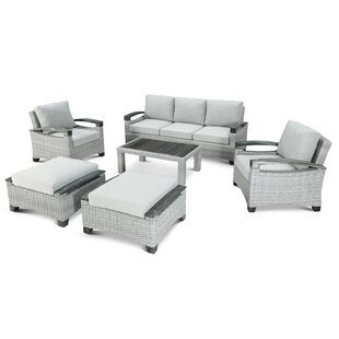 Dorrington Outdoor 6 Piece Rattan Sofa Seating Group with Cushions by Rosecliff Heights