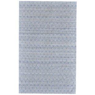 Inexpensive Coria Hand-Woven Blue/White Area Rug ByIvy Bronx