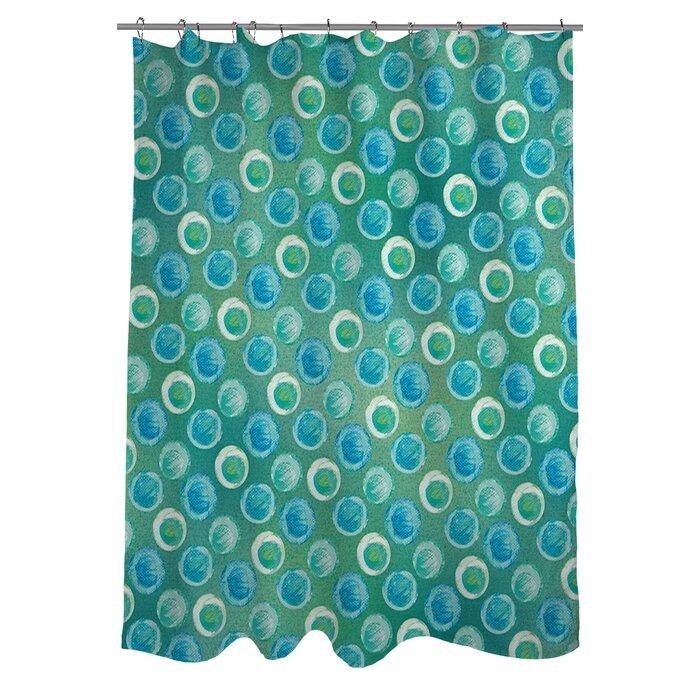 Manual Woodworkers & Weavers Aqua Bloom Dots Shower Curtain ...