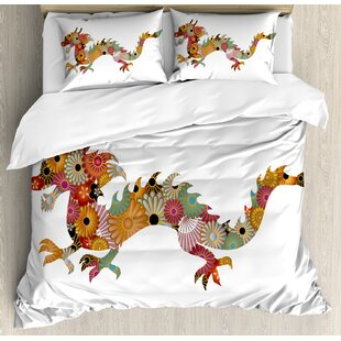 East Urban Home Floral Ornamental Dragon Body Silhouette with Classic Japanese Wavy Folk Pattern Duvet Set