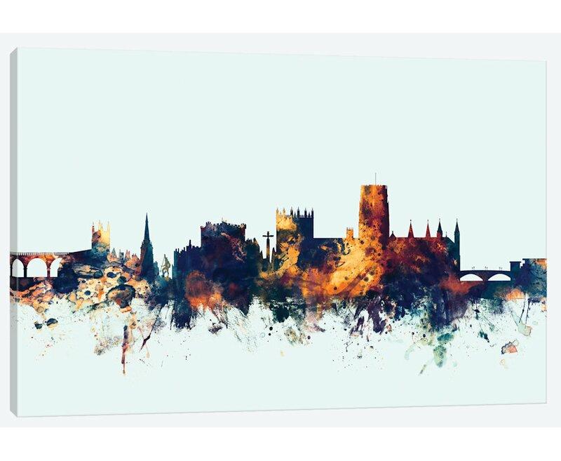 East Urban Home Skyline Series Durham England United Kingdom On Blue Painting Print On Wrapped Canvas Wayfair