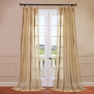 Cleopatra Geometric Sheer Rod Pocket Single Curtain Panel by Half Price Drapes