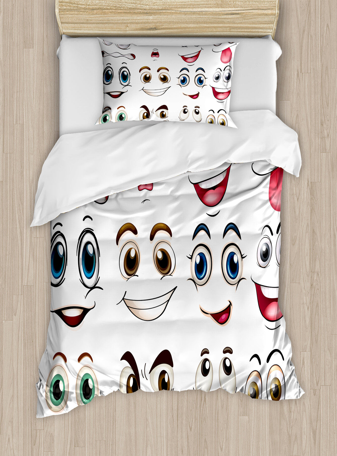 East Urban Home Cartoon Smiley Face Emoji Hand Drawing Image With Positive  Face Expressions Duvet Set | Wayfair