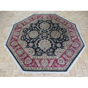 Top Reviews One-of-a-Kind Bearfield Octagon Hand-Knotted Wool Black Area Rug By Isabelline