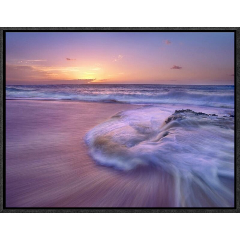 Global Gallery Sandy Beach At Sunset Oahu Hawaii By Tim Fitzharris Framed Photographic Print On Canvas Wayfair