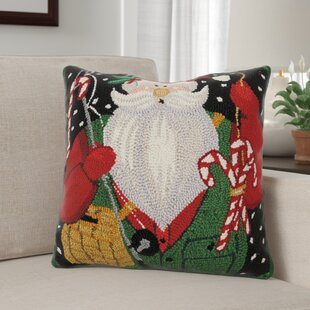 Marydel Woodland Santa Fisherman Hook Wool Throw Pillow