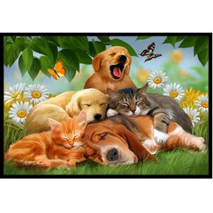 Golden Retriever, Labrador and Basset Hound Sleepy Heads Doormat