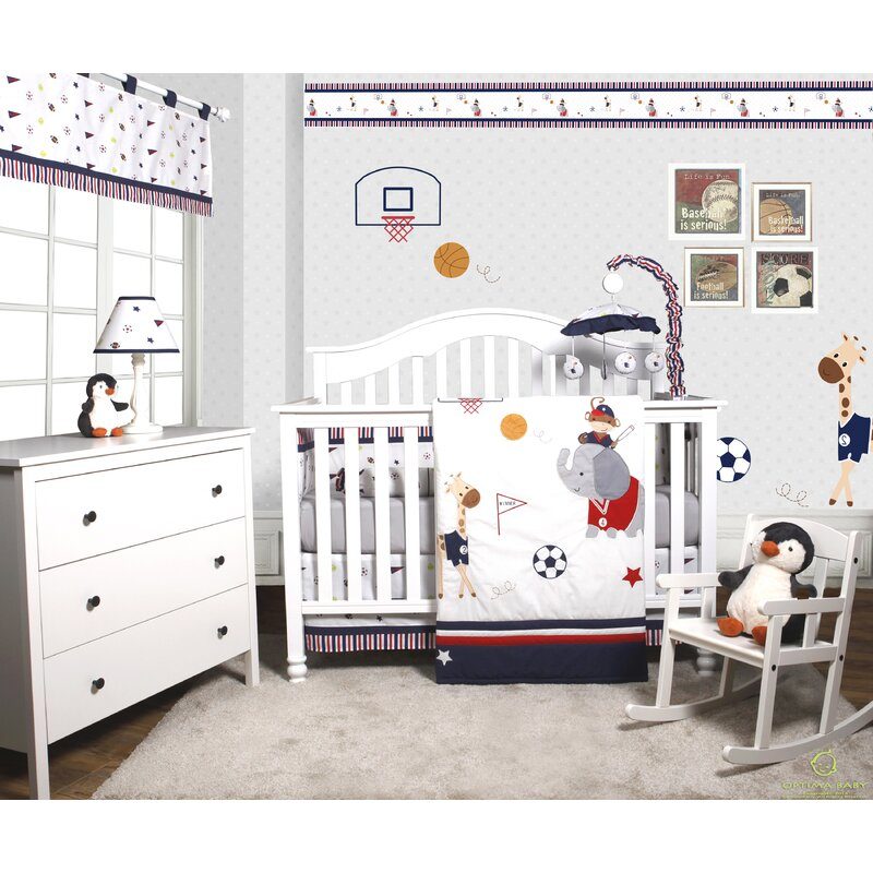 Porter Animal Sports Festival 6 Piece Baby Boy Nursery Crib Bedding Set