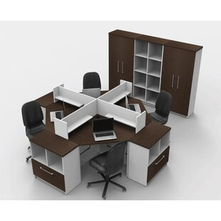 Triangular Corner 14 Piece L-Shaped Desk Office Suite
