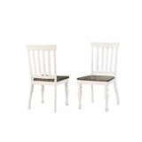 Jarett Slat Back Side Chair in Ivory Charcoal (Set of 2) by Charlton Home®