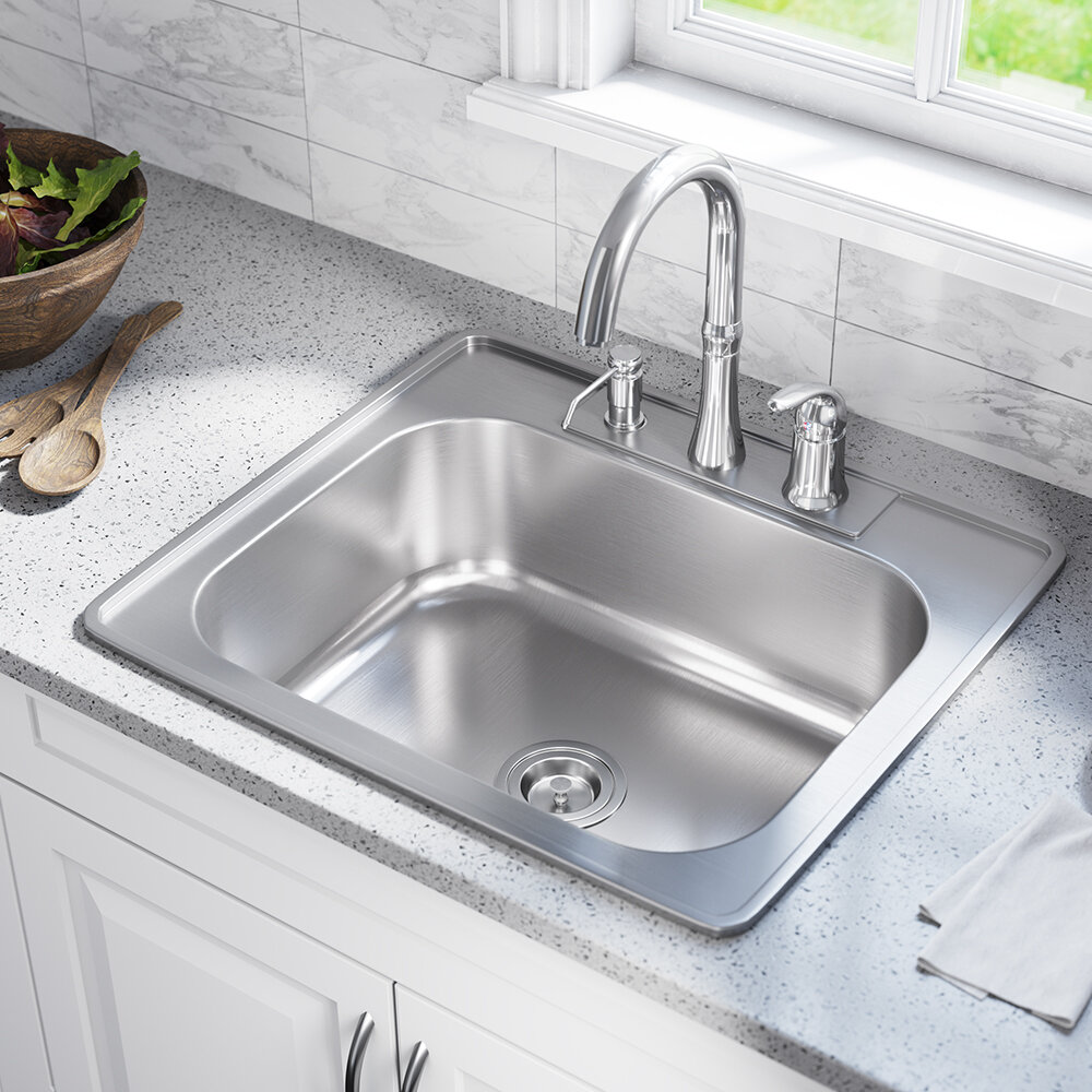 Magnificent Stainless Steel 25 X 22 Drop In Kitchen Sink Complete Home Design Collection Lindsey Bellcom