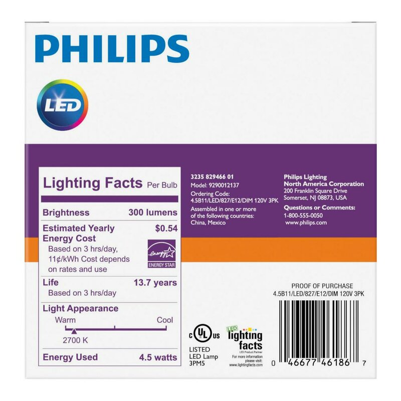 4 5 Watt (40 Watt Equivalent), B11 LED, Dimmable Light Bulb, E12/Candelabra  Base