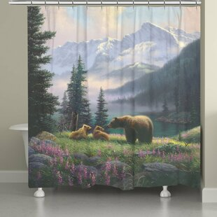 Millwood Pines Stalder Mountain Bear with Cubs Shower Curtain