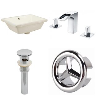 Comparison CUPC Ceramic Rectangular Undermount Bathroom Sink with Faucet and Overflow ByAmerican Imaginations