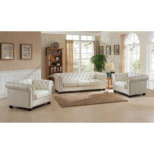 Crissyfield 3 Piece Leather Living Room Set by Rosdorf Park