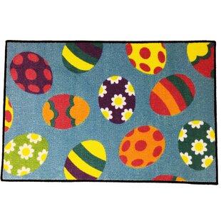 Best Choices Taraval Easter Eggs Gray/Black/Yellow Area Rug ByThe Holiday Aisle