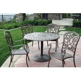 Battista Traditional 5 Piece Metal Frame Dining Set with Cushions