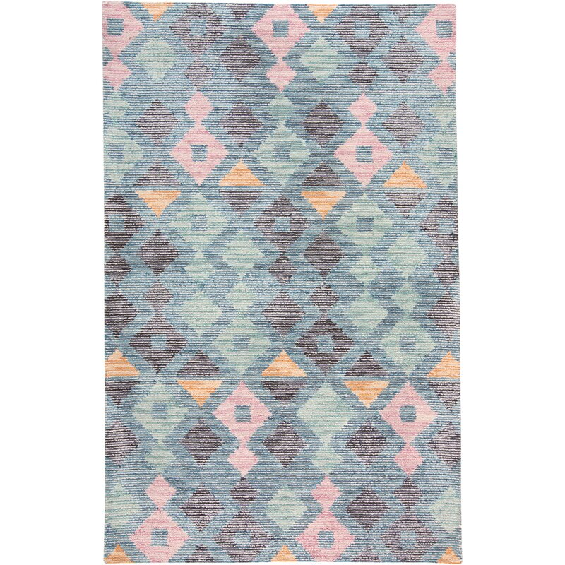 George Oliver Currie Hand Tufted Wool Cotton Pink Blue Gray Area Rug Reviews Wayfair