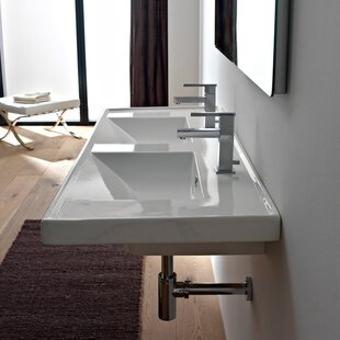 Affordable ML Ceramic Rectangular Drop-In Bathroom Sink with Overflow By Scarabeo by Nameeks