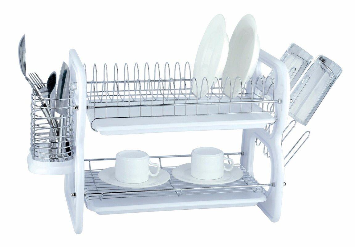 2 Tier Plastic and Chrome Dish Rack