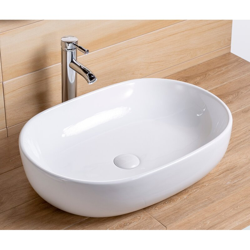 Factory Union White Vitreous China Rectangular Vessel Bathroom Sink With Faucet And Overflow Wayfair