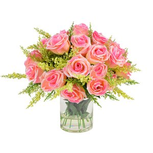 Raffin Rose Centerpiece in Decorative Vase