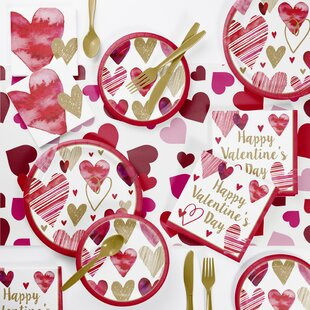 Holl Hearts Valentine's Day Paper/Plastic Disposable Party Supplies Kit