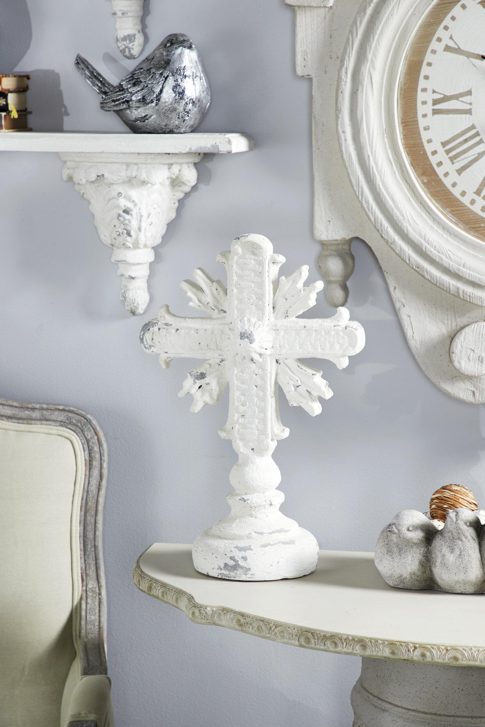 Astoria Grand Larisa Distressed Cross Shelf Decor Sculpture Wayfair