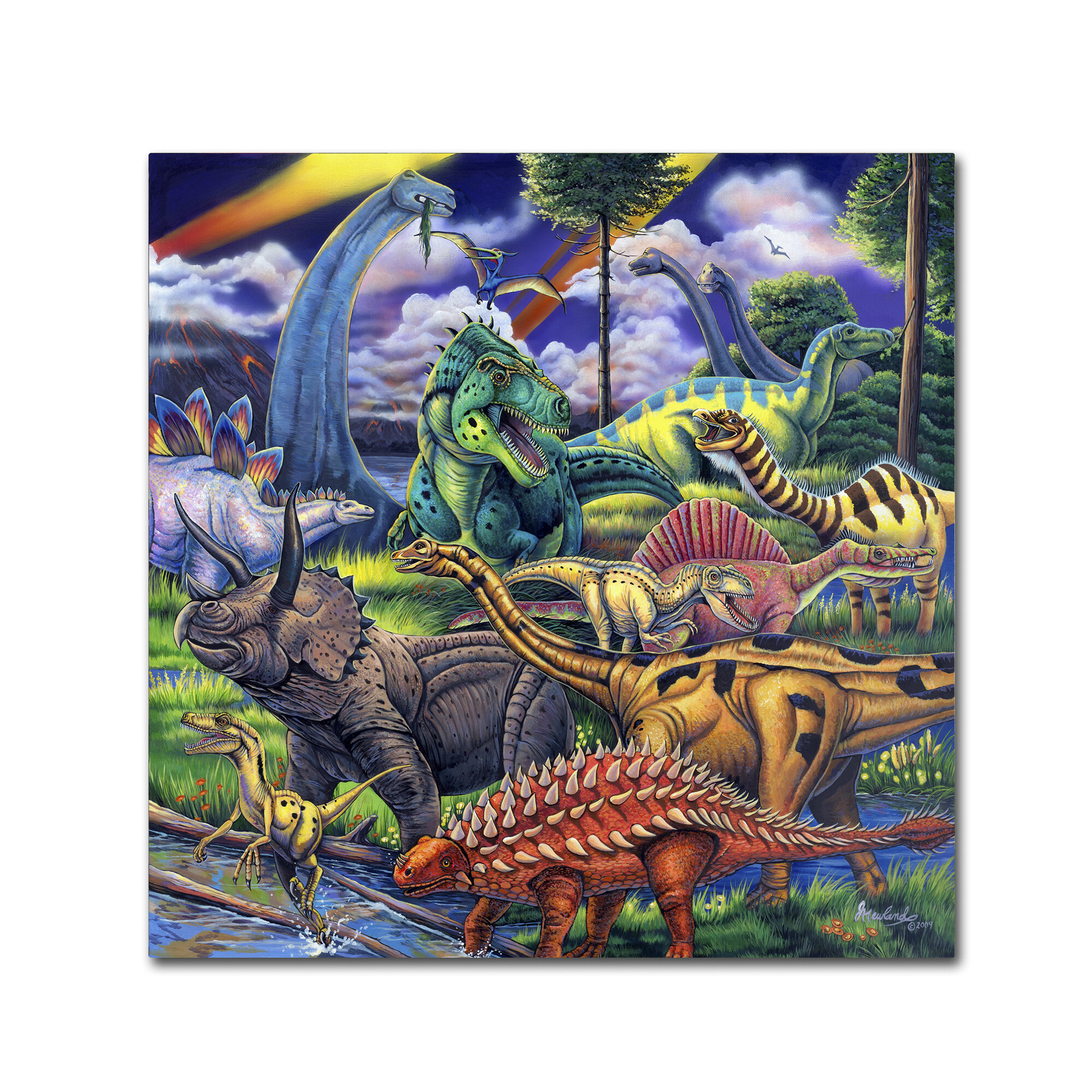Trademark Art Dinosaur Friends Graphic Art Print On Wrapped Canvas Reviews Wayfair
