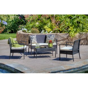 4 Piece Patio Sofa Set with Cushions