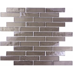 "Landscape Abolos 1"" x 4"" V1- Uniform Appearance Dark Gray Glass Handmade Backsplash Bathroom Mosaic Wall & Floor Tile by"