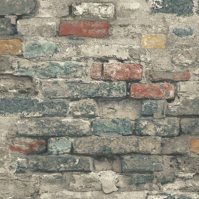 "Crigler 16.5' L x 20.5"" W Brick Alley Peel and Stick Wallpaper Roll"