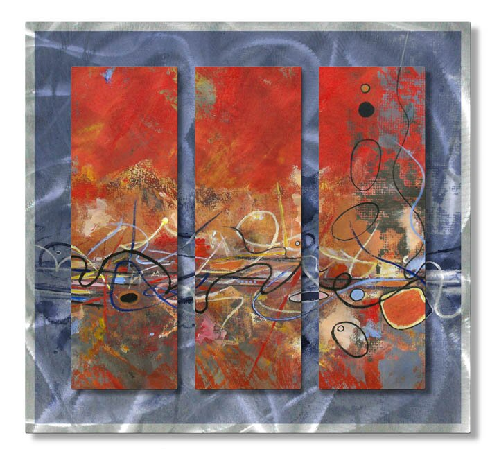 'Rhythm' by Ruth Palmer 3 Piece Painting Print Plaque Set