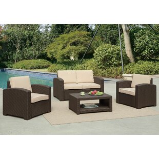 Antoinette Coastal 4 Piece Sofa Set with Cushions