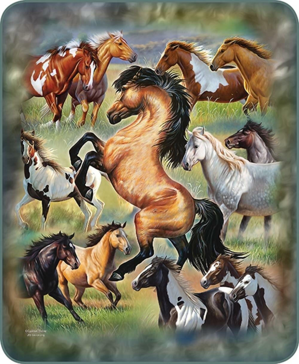 Millwood Pines Breuer Horses In Motion Blanket Wayfair