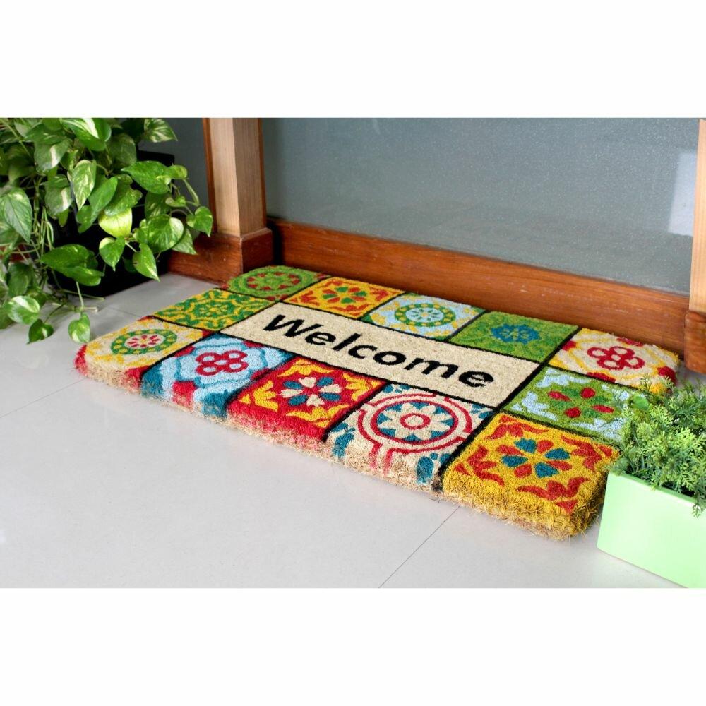 Latitude Run Sinkler Handloom Woven And Printed Welcome Folk Tile Rubber 30 In X 18 In Non Slip Outdoor Door Mat Reviews Wayfair
